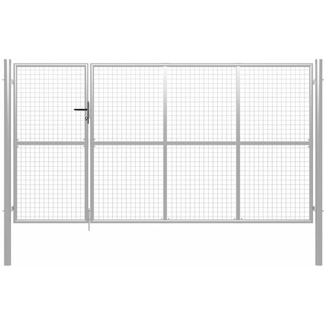 Puerta de jardín de acero plateado 350x175 cm