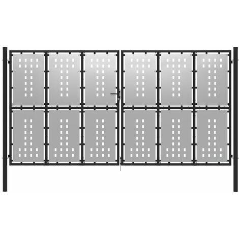 Puerta de jardín de acero plateado 400x175 cm