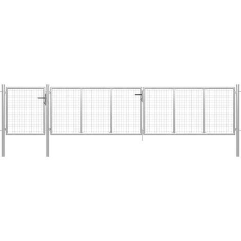 Puerta de jardín de acero plateado 500x100 cm