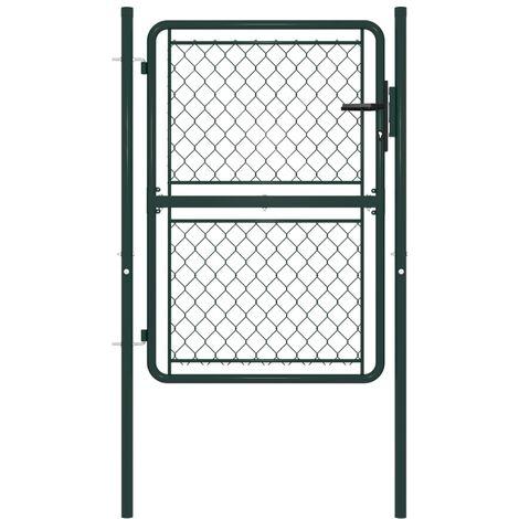 Puerta de jardín de acero verde 100x150 cm