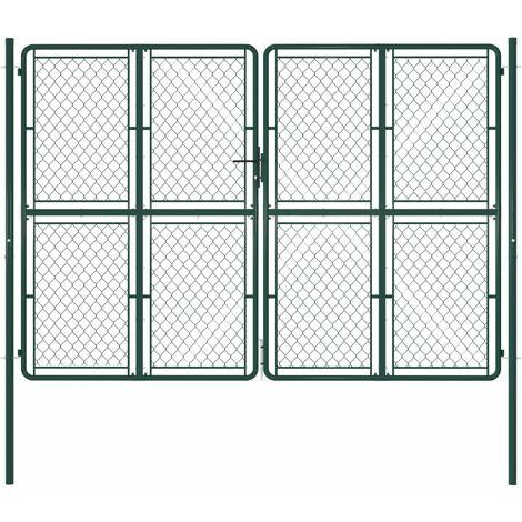 Puerta de jardín de acero verde 300x200 cm