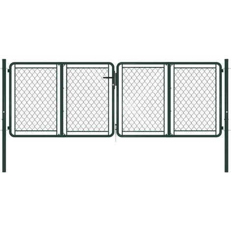 Puerta de jardín de acero verde 300x75 cm
