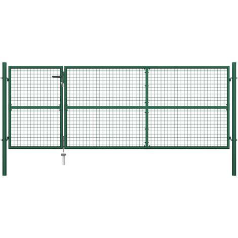Puerta de jardín de acero verde 350x125 cm
