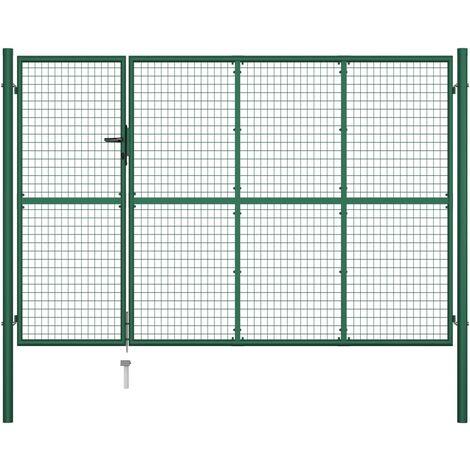 Puerta de jardín de acero verde 350x200 cm