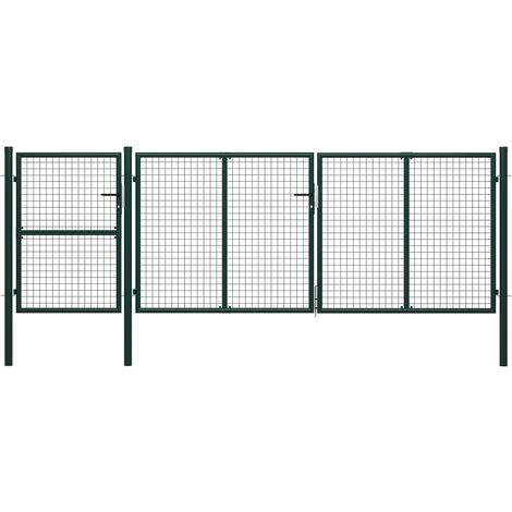 Puerta de jardín de acero verde 400x125 cm