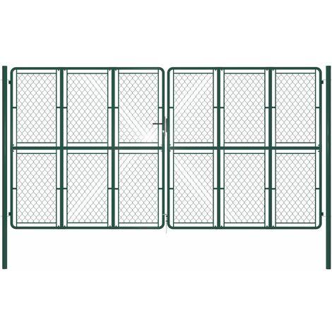Puerta de jardín de acero verde 400x200 cm