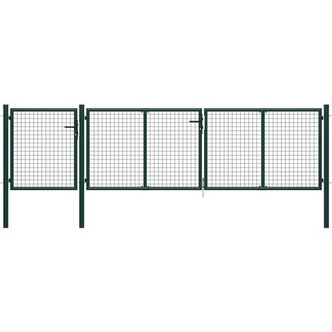 Puerta de jardín de acero verde 400x75 cm