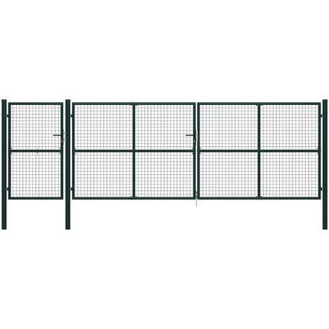 Puerta de jardín de acero verde 500x150 cm