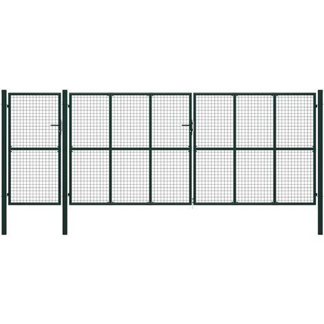 Puerta de jardín de acero verde 500x200 cm