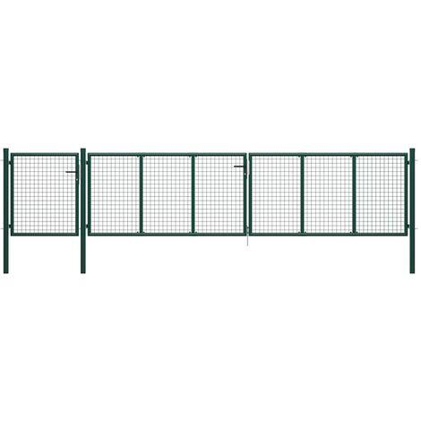 Puerta de jardín de acero verde 500x75 cm