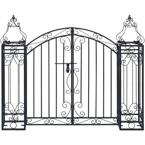 Puerta de jardin decorativa de hierro forjado 122x20,5x100 cm