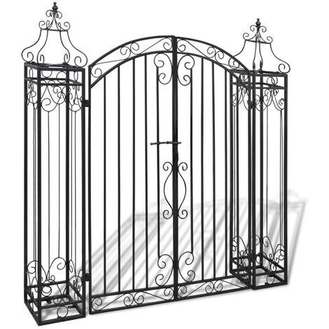 Puerta de jardin decorativa de hierro forjado 122x20,5x134 cm