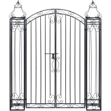 Puerta de jardin decorativa de hierro forjado 122x20,5x160 cm
