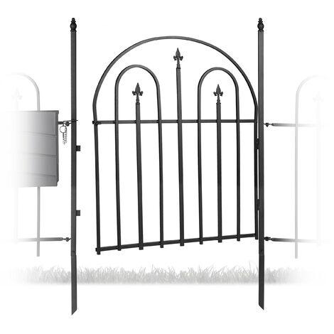 Puerta de jardín GOTH con postes, Romántico, Arco exterior, 120 x 90 cm, 1 Ud., Negro