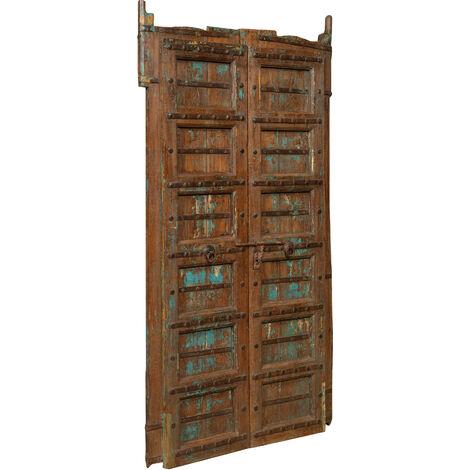 Puerta de madera maciza y hierro para uso interior o exterior antiguo y medieval