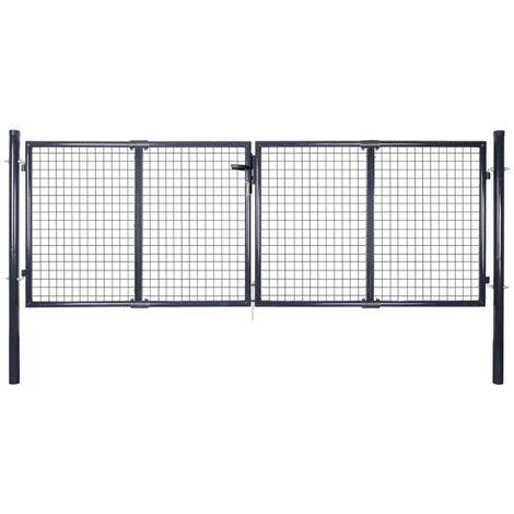 Puerta de malla de jardin acero galvanizado 289x125 cm gris