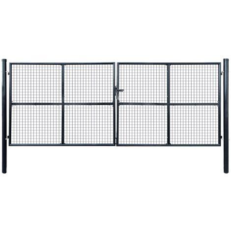 vidaXL Puerta de malla de jardín acero galvanizado 400x150 cm gris - Grigio