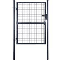 Puerta de malla de jardín acero galvanizado 85,5x125 cm gris