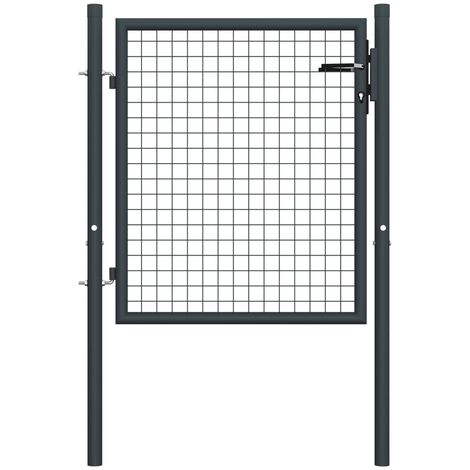 Puerta de malla de jardín acero galvanizado gris 100x125 cm