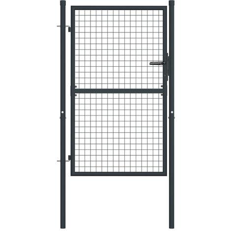 Puerta de malla de jardin acero galvanizado gris 100x175 cm