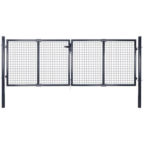 Puerta de malla de jardín acero galvanizado gris 289x100 cm - Gris