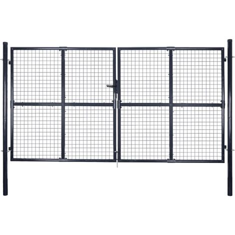 Puerta de malla de jardín acero galvanizado gris 289x175 cm