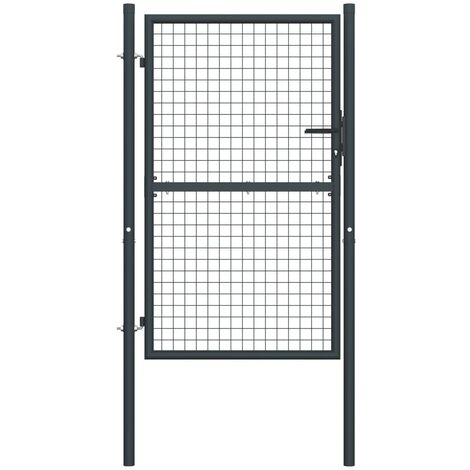 Puerta de malla de jardín acero galvanizado gris 400x125 cm