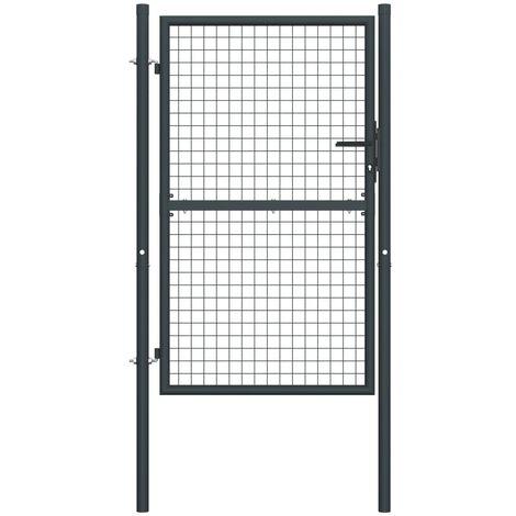 Puerta de malla de jardín acero galvanizado gris 400x125 cm - Gris