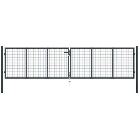 Puerta de malla de jardín acero galvanizado gris 400x150 cm - Gris