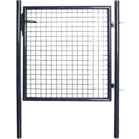 Puerta de malla de jardín acero galvanizado gris 85,5x100 cm
