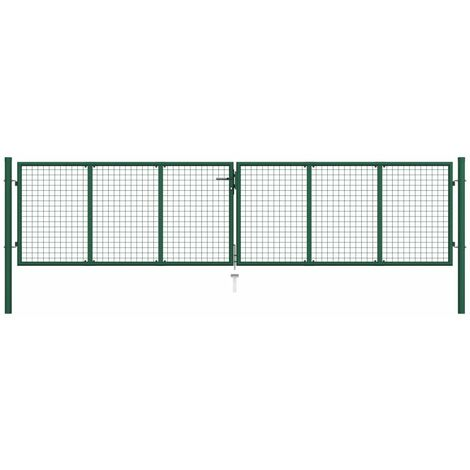 Puerta de malla de jardín acero verde 400x75 cm