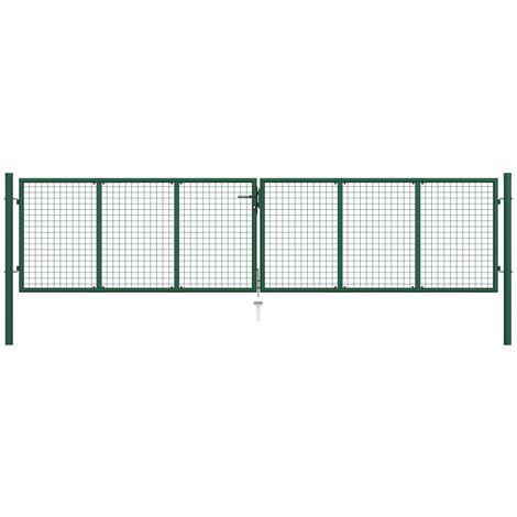 Puerta de malla de jardín de acero verde 400x100 cm - Verde