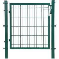 Puerta de malla de jardín Puerta de verja Acero galvanizado Sólido y estable Cerradura y llaves Puerta de jardín de 106 x 150cm Malla de 50 x 200mm Verde GGD250L