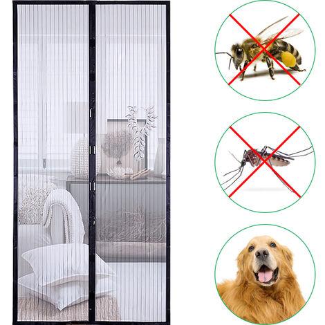 Puerta de pantalla magnetica 35,4 * 82,7 pulgadas cortina del acoplamiento Mosquitera con cinta adhesiva y chinchetas Prevencion de insectos del mosquito vuela, Negro, 90x210cm