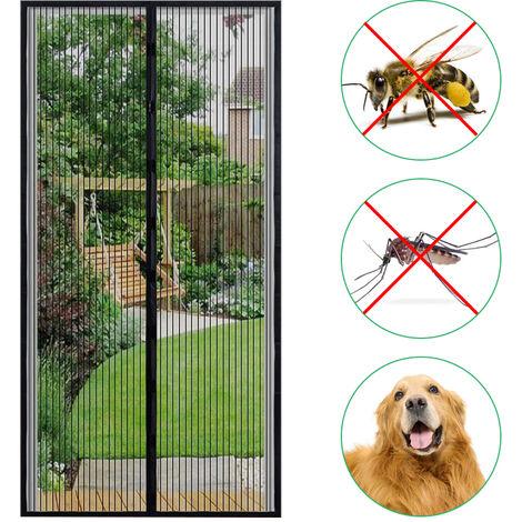Puerta de pantalla magnetica 35,4 * 82,7 pulgadas cortina del acoplamiento Mosquitera con cinta adhesiva y chinchetas Prevencion de insectos del mosquito vuela, Negro