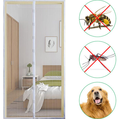 Puerta de pantalla magnetica 39,4 * 82,7 pulgadas cortina del acoplamiento Mosquitera con cinta adhesiva y chinchetas Prevencion de insectos del mosquito vuela, Blanco, 100x210cm