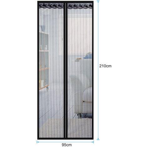 Puerta de pantalla magnetica con la cortina del acoplamiento, Portal Mosquitera Bug de malla con marco completo sujetador de cinta, 90x200cm