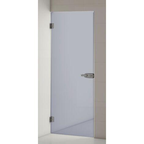Puerta de Paso Ducha Baño Abatible, Cristal 8mm. Modelo BUTAN Componentes y Bisagras en Acero INOX con Cerradura con Llave