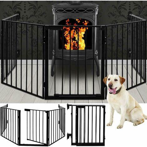 Puerta de proteccion para chimenea y estufa en acero negro.310cm