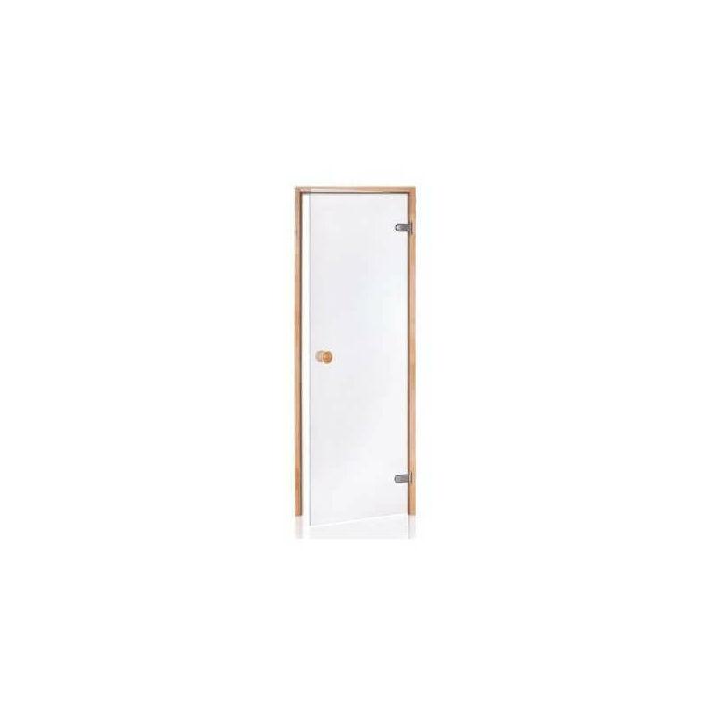 Puerta de sauna de cristal segura de 8 mm en marco de pino transparente de 90 x 190