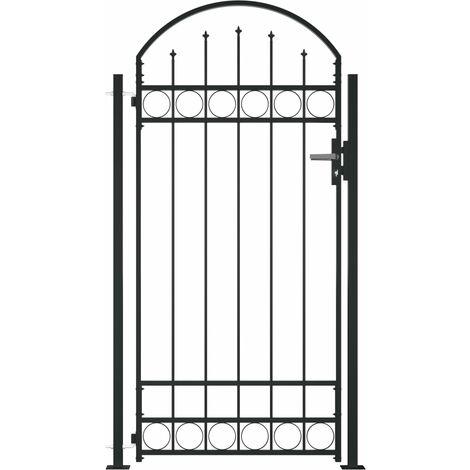 Puerta de valla con arco y 2 postes negra 100x200 cm