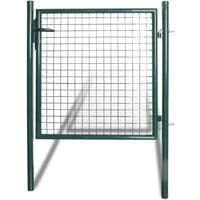 Puerta de valla de acero con recubrimiento en polvo