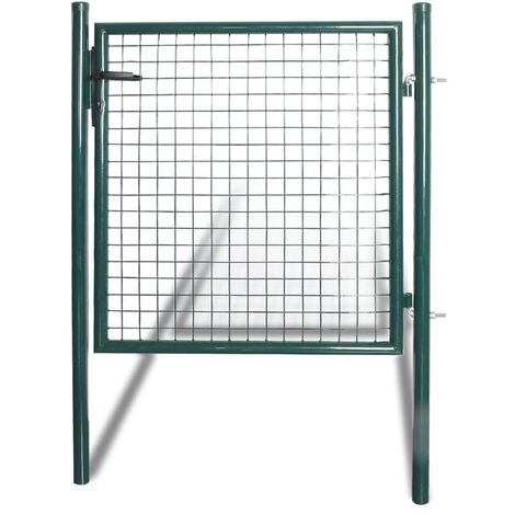 Puerta de valla de acero con recubrimiento en polvo - Verde