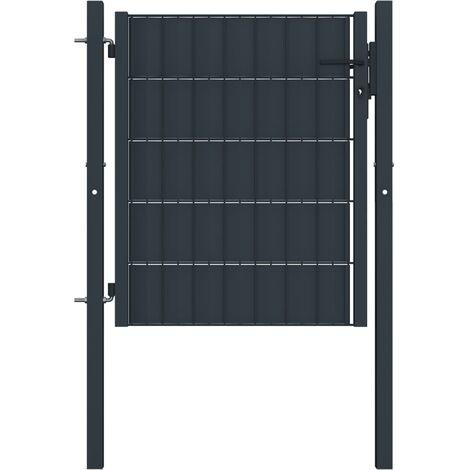 Puerta de valla de acero gris antracita 100x101 cm