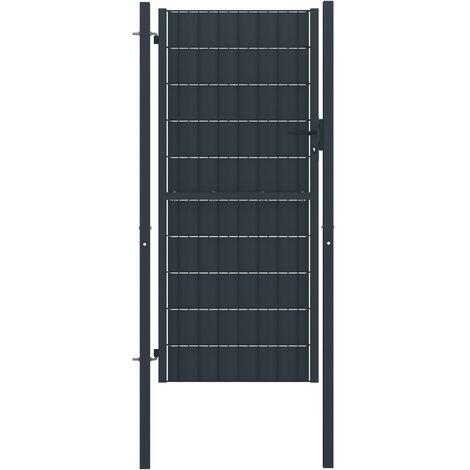 Puerta de valla de acero gris antracita 100x204 cm