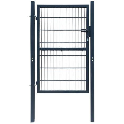 Puerta de valla de acero gris antracita 103x250 cm - Gris