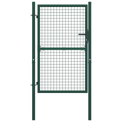 Puerta de valla de acero verde 100x200 cm