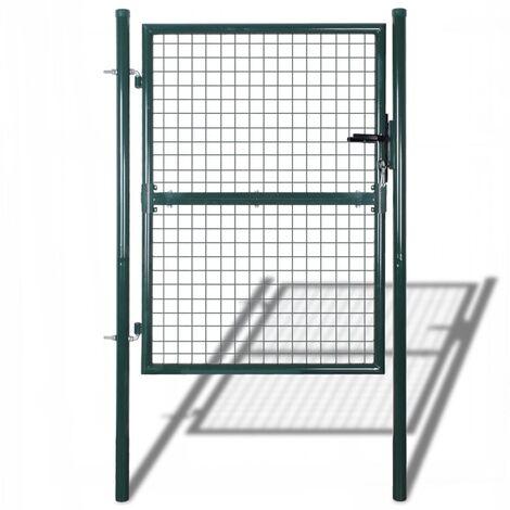 Puerta de valla de acero verde 100x250 cm