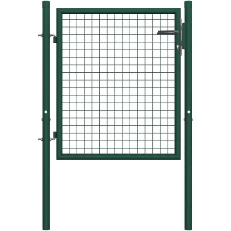 Puerta de valla de acero verde 100x75 cm