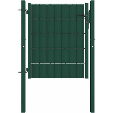 Puerta de valla de acero verde 101x100 cm